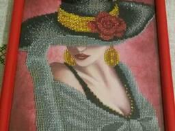 """Картина """"Девушка в шляпе"""", вышита бисером (ручная работа!) - фото 2"""