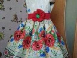 Платья детские и взрослые в украинском стиле, маки, хлопок - фото 2