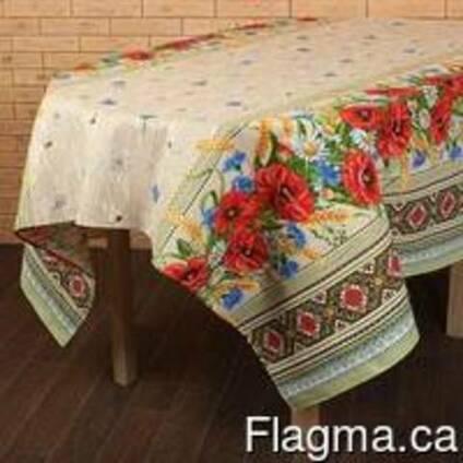 Скатерти , полотенца в украинском стиле, лён - рогожка, хлоп