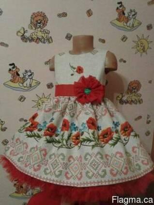 Платья детские и взрослые в украинском стиле, маки, хлопок